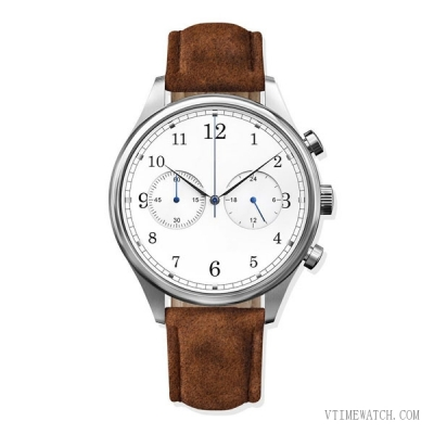 SS1501 Vintage Mens Genuine Leather Suede Chrono Watch