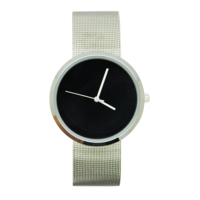 VT-SS1427 Elegant Round Case Stainless Steel Mesh Band Watch