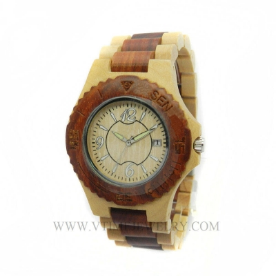 VT-WD1505M Men's Leisure Lifestyle Rosewood Wooden Watch With Rotating Top Ring